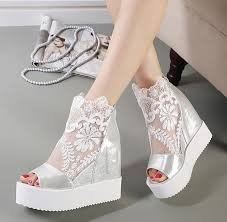 wedding shoes platform newest white silver lace platform wedge heels dress shoes
