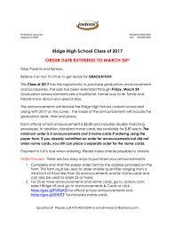 name cards for graduation announcements rhs grad announcements orders 2017 ridge pto