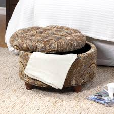 storage ottoman slipcover button tufted round storage ottoman brown and tel paisley homepop
