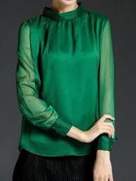 green chiffon blouse green solid chiffon sleeve turtleneck blouse stylewe com