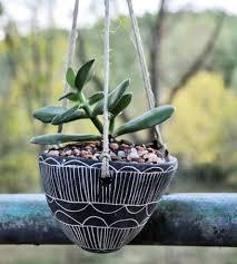 graphic black u0026 white ceramic hanging planter home decor