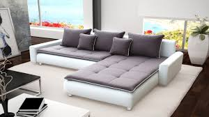 Living Room With Grey Corner Sofa Large White Faux Leather U0026 Grey Fabric Corner Sofa Homegenies