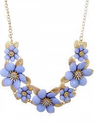 flower drop necklace images Powder blue rhinestone flowers design pendant chain necklace jpg