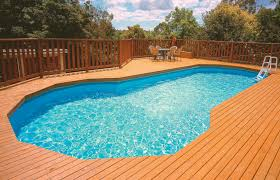 swimming pool curve above ground pool with deck plus railing and