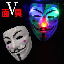 led mask v character light mask with lights for halloween