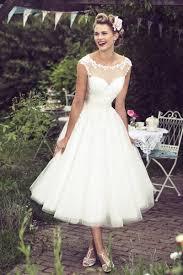 tea length wedding dresses uk length illusion neck lace bodice a line tulle wedding dress
