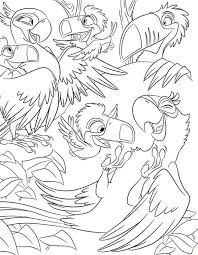 blu jewel visiting rafael family rio movie coloring pages