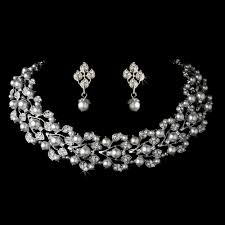 necklace with earrings set images Stress away bridal jewelry boutique glamour in silver white jpg