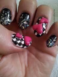 9 nail designs 3d 3d nail art pink hearts black and white chequer