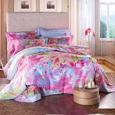 Girls Queen Size Bedding Sets by Aqua Blue Green And Pink Asian Lily Blossom Print Girls Bedroom