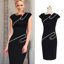 online cheap black and white ladies dress the elegant color pencil