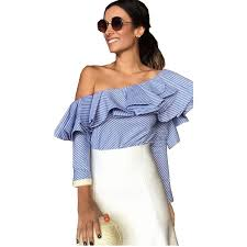 trendy blouses ruffles the shoulder stylish blouse 2017 trendy two