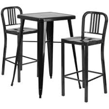 Outdoor Bar Table Metal Indoor Outdoor Bar Table Set With 2 Barstools Free