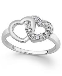 heart ring diamond heart ring in sterling silver 1 10 ct t w