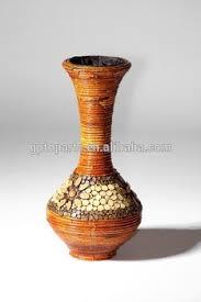 Rattan Vases 80cm Coarse Rattan Vase French Woven Pattern Bottle Wood Flower