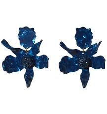 navy blue earrings lele sadoughi flower earrings navy blue
