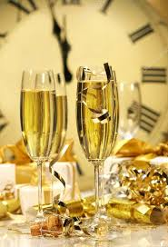 new years chagne glasses chagne glasses ready to bring in the new year stock photo