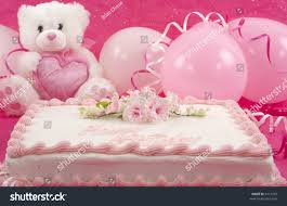 delicious beautifully decorated birthday cake teddy stock photo