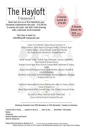 the hayloft restaurant christmas xmas party u0026 christmas day menus