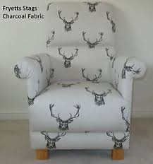 Bespoke Upholstery Fryetts Stags Fabric Chair Charcoal Natural Armchair Bespoke