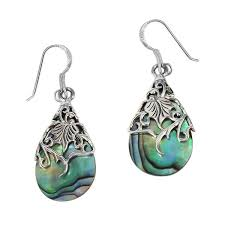 thailand earrings handmade floral vine ornate teardrop shell 925 silver