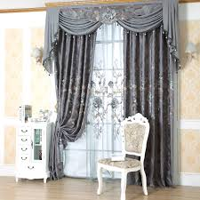 Window Curtains Jacquard European Gray Window Curtains Of Flower Patterns