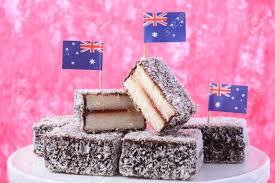Dessert Flags Traditional Australian Lamington Cakes With Australian Flags