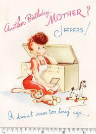 mid century vtg 1940s birthday card mom in apron w faux hair curl