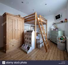 wooden mezzanine bed and wardrobe in child u0027s room of macclesfield