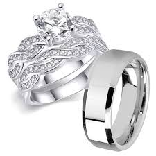 wedding rings steel images His stainless steel her sterling silver princess wedding ring 13 jpg