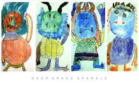 monster watercolor drawings paintings deep space sparkle