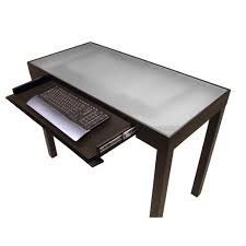Glass Top Computer Desks For Home Furniture Fetching Glass Top Office Computer Desk In Silver Metal