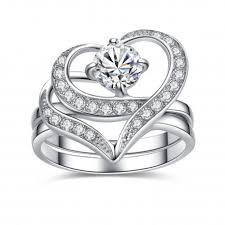 engagement and wedding ring set stainless steel cubic zirconia cut heart shape wedding rings