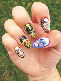 disney nails painted with acrylic paint and a gel top coat took 4