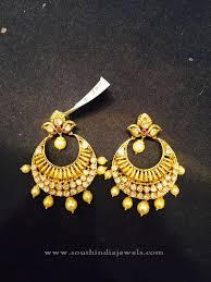 simple gold earrings 22k gold simple chandbali earrings design gold indian gold