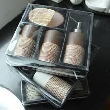 fashion chocolate four piece ceramic bathroom set toiletries