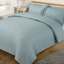 dreamscene beautiful satin stripe duvet bedding set duck egg blue