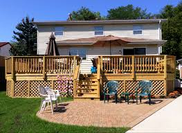 Wooden Decks And Patios Wood Deck With Belgard Patio In Mundelein Il By Archadeck Of