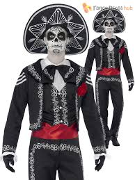 day of the dead mens costume halloween skeleton mexican bond fancy