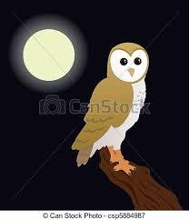 A Cartoon Barn Vectors Illustration Of Barn Owl Sitting On A Tree At Night