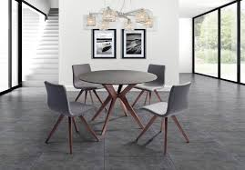 redondo round glass and stone top dining table with walnut veneer