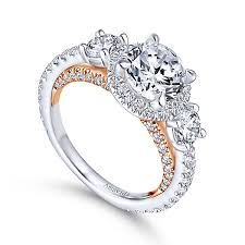 white stones rings images Darla 18k white and rose gold round 3 stones halo engagement ring jpg