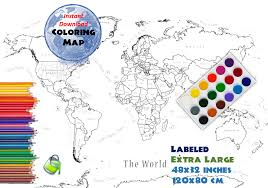 The World Map Labeled by Coloring Page World Map Labeled Extra Large 48x32 Inch And 120x80