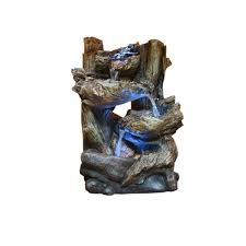 Alpine Tiered Log Statue Fountain With LED LightsWINS The - Pond lights home depot