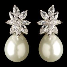 pearl and diamond drop earrings rhodium clear marquise cz diamond white pearl drop