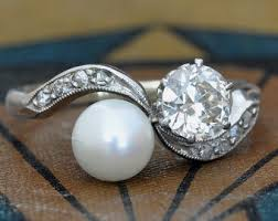 pearl and diamond engagement rings vintage pearl engagement rings new wedding ideas trends