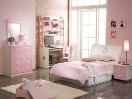 pink bedroom wall themes combined by white wooden bed and white