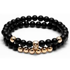 double beaded bracelet images Double skull head charm black stone beads bracelet funky bead jpg