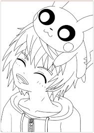 Kawaii pikachu et heureux garcon  Coloriage Kawaii  Coloriages
