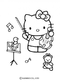 kitty playing violin color music teaching